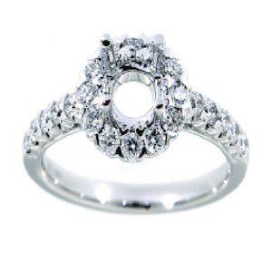 Real Diamond Semi-Mount Engagement Ring White Gold